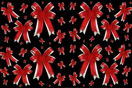 red ribbon satin gift bow Stock Photo - 8399893