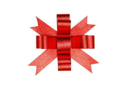 red ribbon satin gift bow Stock Photo - 8399876
