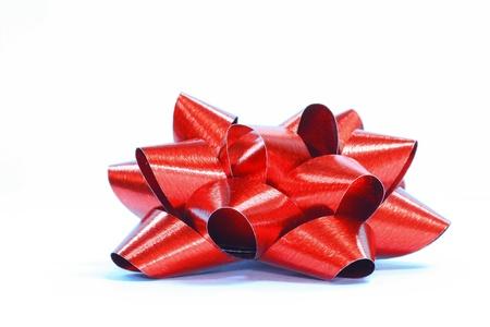 red ribbon satin gift bow Stock Photo - 8399873