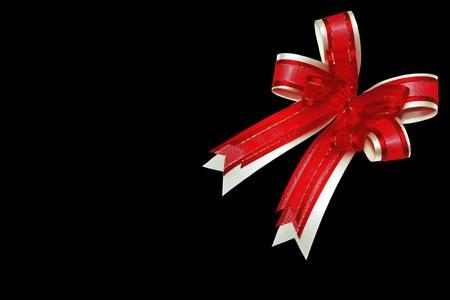 red ribbon satin gift bow Stock Photo - 8399872