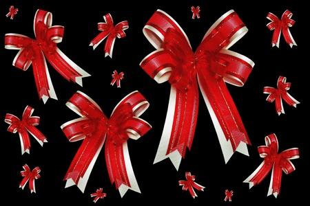 red ribbon satin gift bow photo
