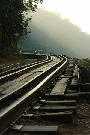 dying railway tracks in period world war 2 of thailand photo