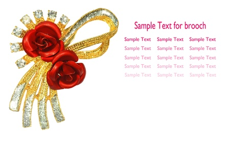 jewelle: Red rose brooch macro isolated on white background.