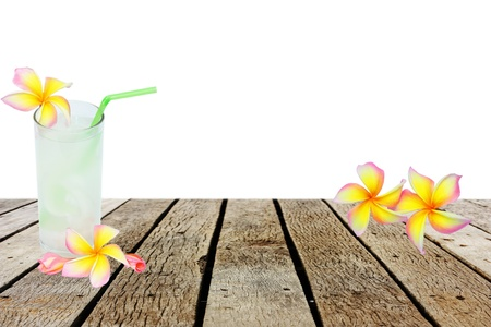 coconut drink and  flower Plumeria photo