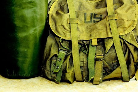 Army bag soldier Stock Photo