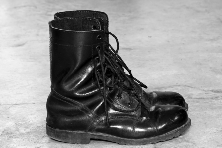 army boots: Black Leather Army Boots