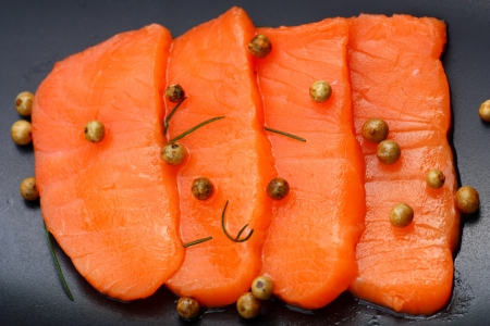 Sliced raw fatty salmon  Salmon sashimi  photo