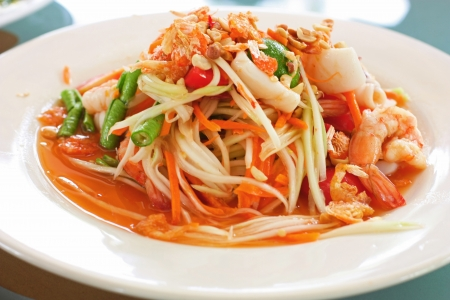 Thai papaya spicy salad or know as Som Tum  Stock Photo - 22662360