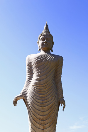 paper sculpture: Old ancient buddha statue on background
