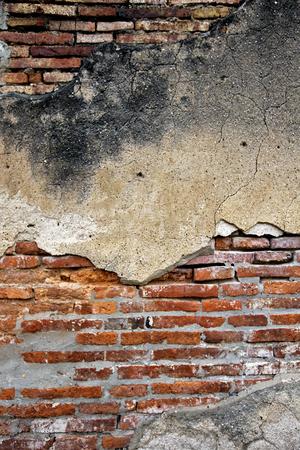 cracked concrete: cracked concrete vintage brick wall background Stock Photo