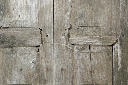 view of a wooden doorway: Very old wooden door of Thailand. Stock Photo
