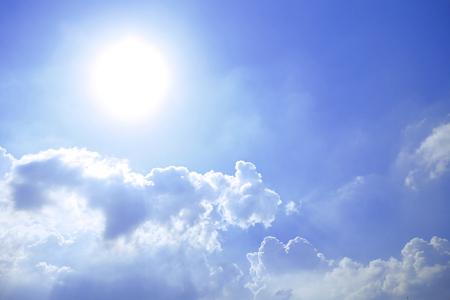 fluffy: Sky background with the fluffy white clouds Stock Photo