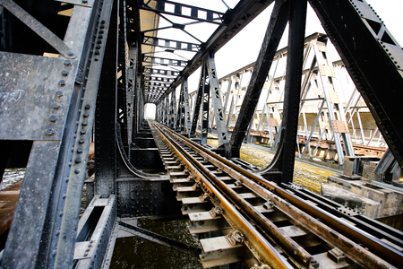 thoroughfare: Line of railway crossing in rural of Thailand. Stock Photo
