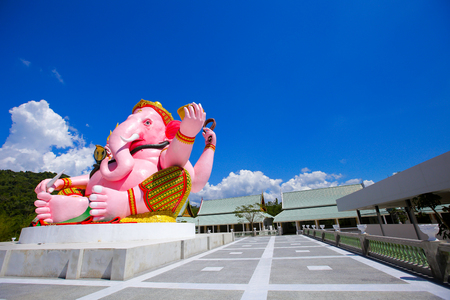 Ganesha Pink statue in Buddha park Buddhist monument,Nakhon Nayok Stock Photo