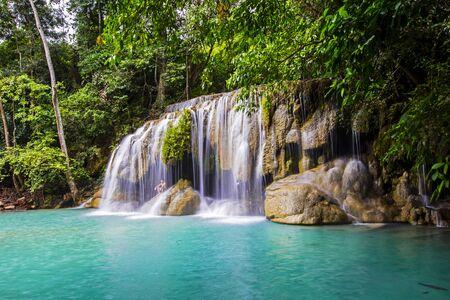 Erawan waterfall National Park Kanjanaburi Thailand Stockfoto - 128812321