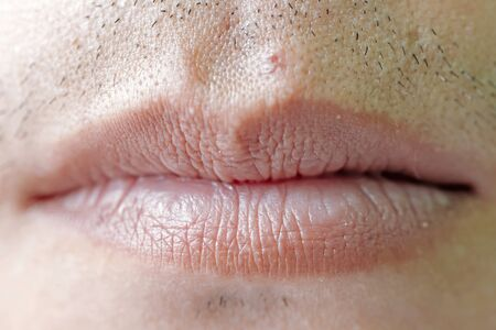 Close Up Of Man's Face Lips