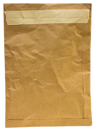 old envelope: Old brown envelope isolated on white background Stock Photo