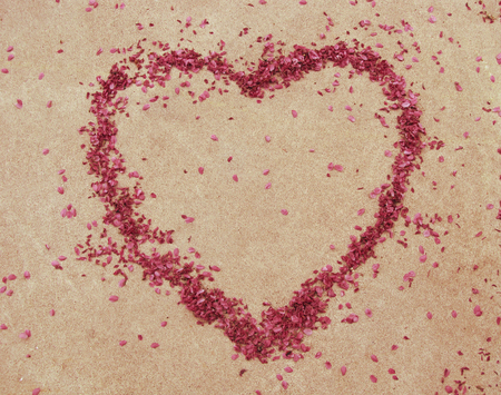 A heart shaped outline made with flower petals. 版權商用圖片