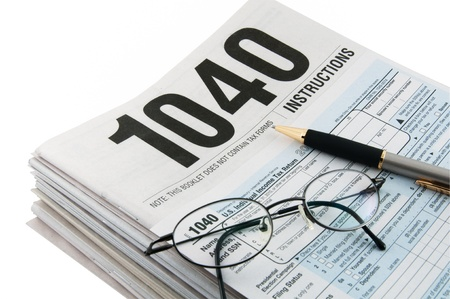 Tax instructions and tax form for tax returns preparation  photo