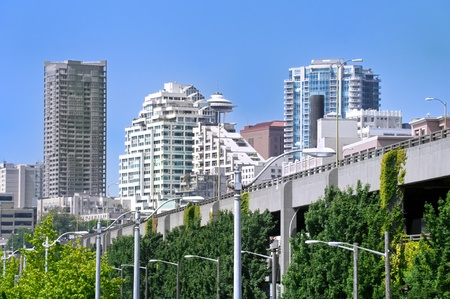 Downtown of  Seattle and freeway against the blue sky. Stock Photo