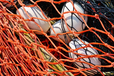 toils: Close-up fishing net with floats on the background.