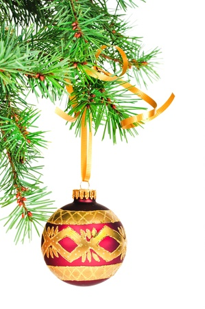 hangs: Decorative Christmas ball hangs on the Christmas tree. Stock Photo