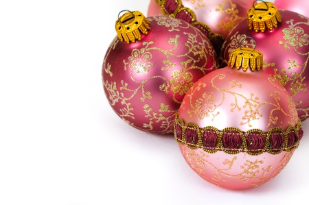 christmasy: Close up decorative Christmas balls on white background.