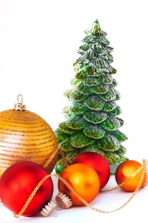 Close up decorative balls and Christmas tree.