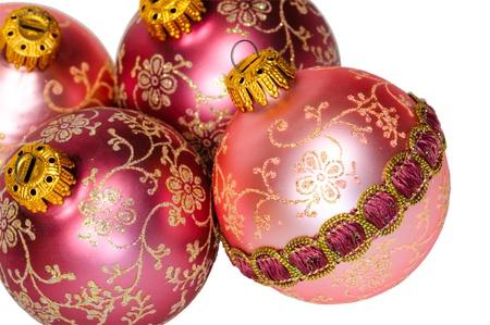 christmasy: Close up decorative Christmas balls on white background, isolated.