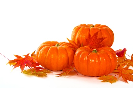 Close up composition of pumpkins and leaves on the table. photo