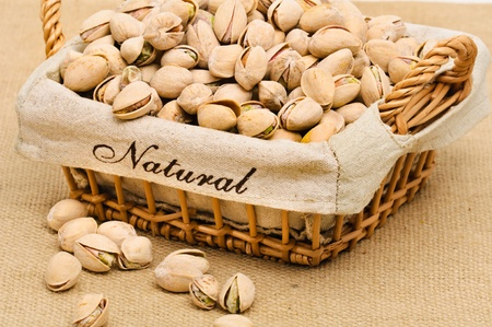 Close-up of pistachio nuts in the basket.