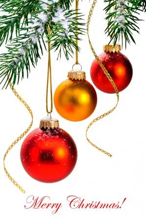merry time: Christmas balls hanging on the Christmas tree.