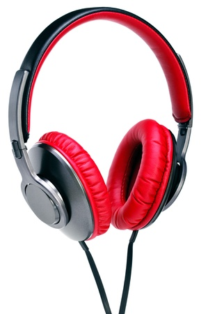 portable audio: Fashion headphones made of red leather on a white background.