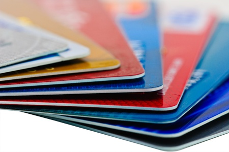 e card: Close-up picture of a credit cards as a background.