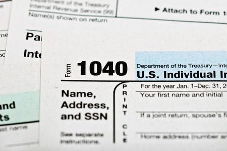 Tax forms 1040. U.S Individual Income Tax Return. Stock Photo