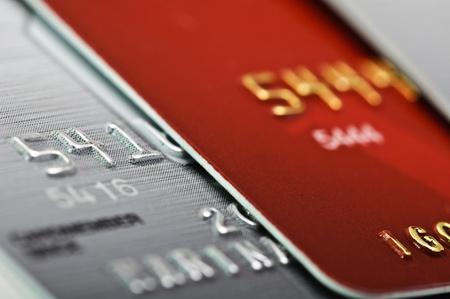 bank overschrijving: Close-up foto van een creditcard als achtergrond. Stockfoto