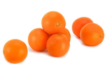 Bright fresh oranges on a white background. Reklamní fotografie