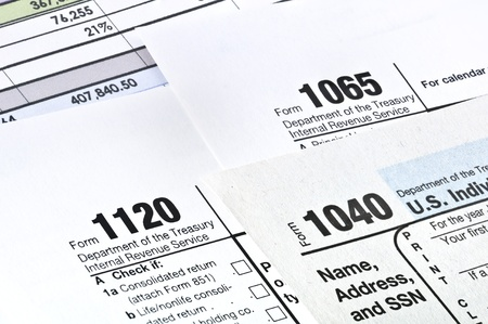 impuestos: Impuesto forma 1040,1120,1065 Ingresos EE.UU. Declaraci�n de Impuestos Foto de archivo