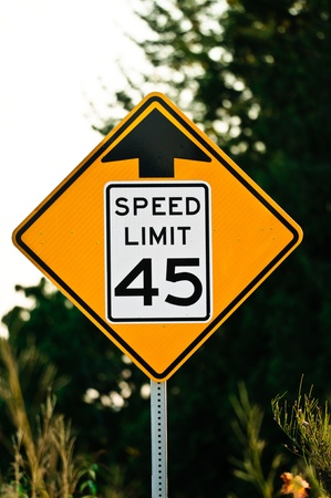 Road sign used in the USA, 45 MPH speed limit.