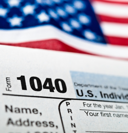 tax law: U.S. Income Tax Return form 1040.