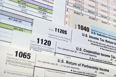 U S  Income Tax Return forms 1040,1065,1120 photo