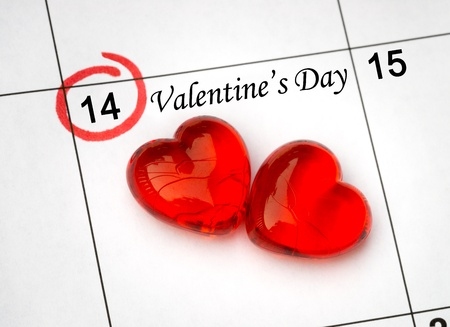 Calendar page with the red hearts on February 14 of Saint Valentines day