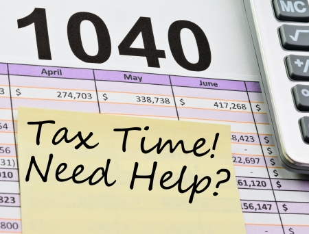 spread sheet: Tax form 1040, spread sheet with calculator and sticker