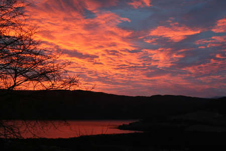 loch ness: Sunset over Loch Ness Stock Photo