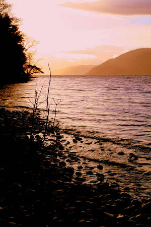 loch ness: Sunset over Loch Ness at Dores Stock Photo