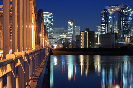 kita: Osaka Kita night view from 13 Bridge Editorial