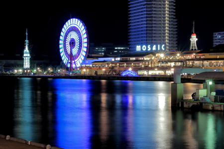 brilliantly: Night view from Jetty Kobe port in Takahama Quay Editorial