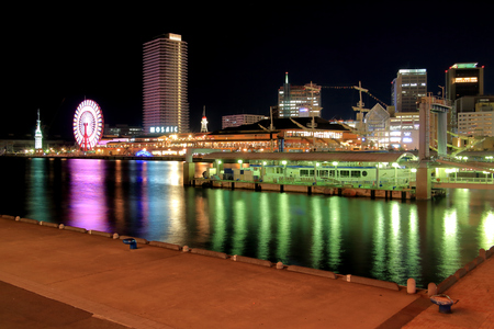 brilliantly: Night view from the pier in Kobe harborland