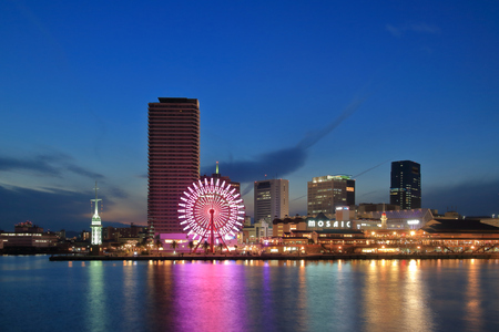 brilliantly: Takahama quay of the sunset seen from the jetty in the Kobe port