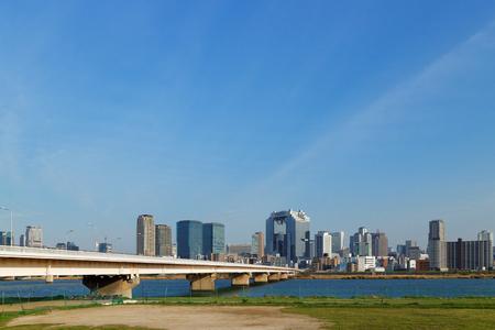 kita: Cityscape of Yodogawa and Osaka Kita Stock Photo
